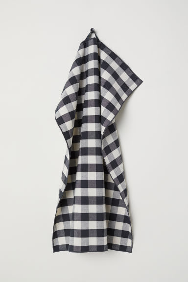 Linen-blend tea towel - Anthracite grey/Checked - Home All | H&M CN