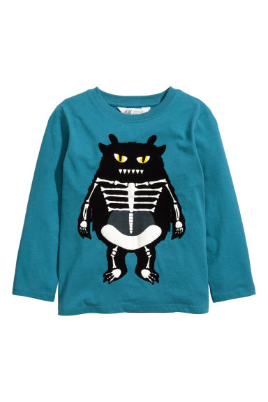Printed jersey top - Petrol blue/Monster - Kids | H&M CN