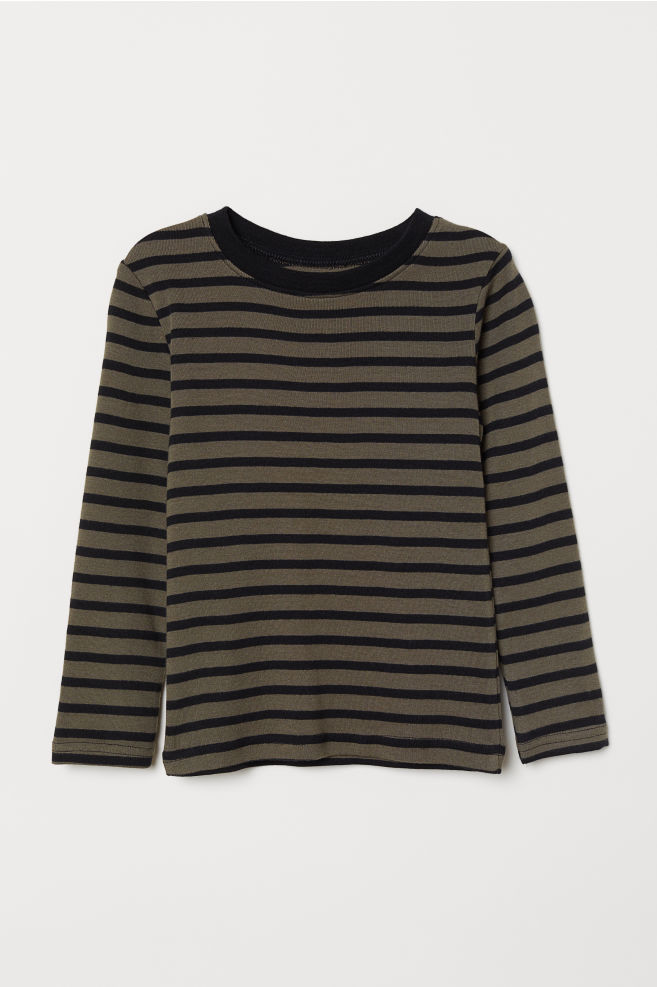 b360b03f7b Long-sleeved Jersey Shirt - Khaki green/black striped - Kids | H&M US