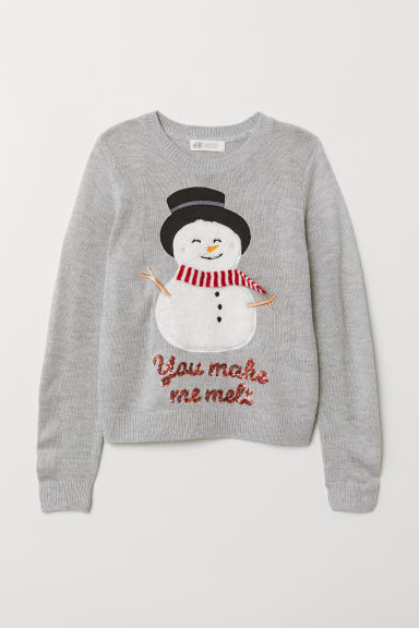 Knitted jumper - Grey marl/Snowman - Kids | H&M
