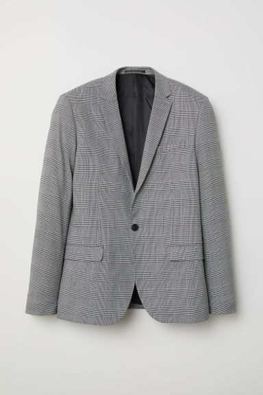Skinny Fit Checked Blazer - White/checked - Men | H&M CA