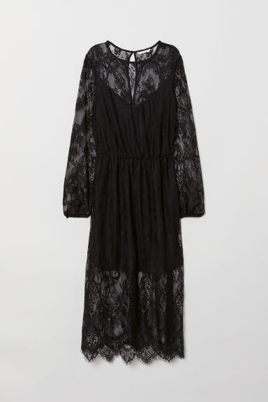 Calf-length Lace Dress - Black -  | H&M US