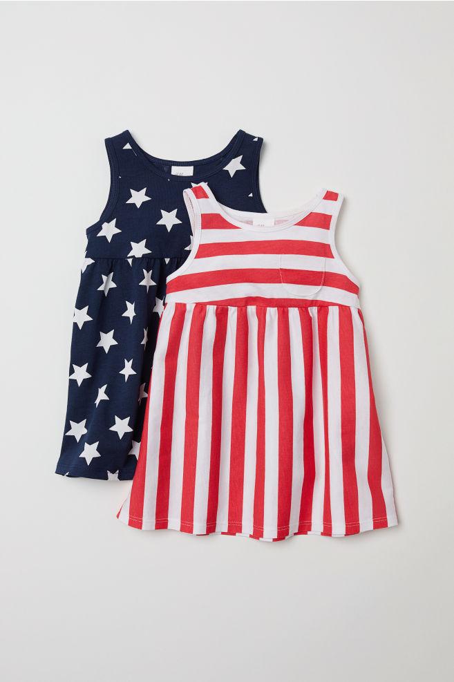 cb85ffcaed55fa 2-pack Jersey Dresses - Red dark blue - Kids