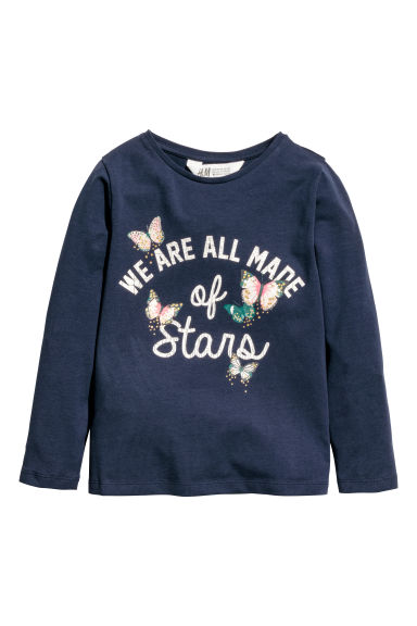 Printed jersey top - Dark blue/Butterflies - Kids | H&M