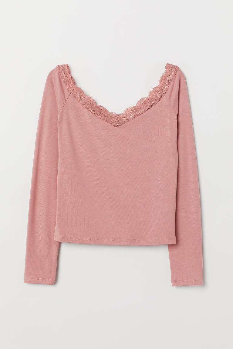 Off-the-shoulder top - Vintage pink -  | H&M GB