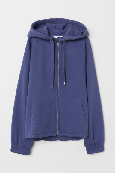Hooded jacket with embroidery - Pigeon blue - Ladies | H&M