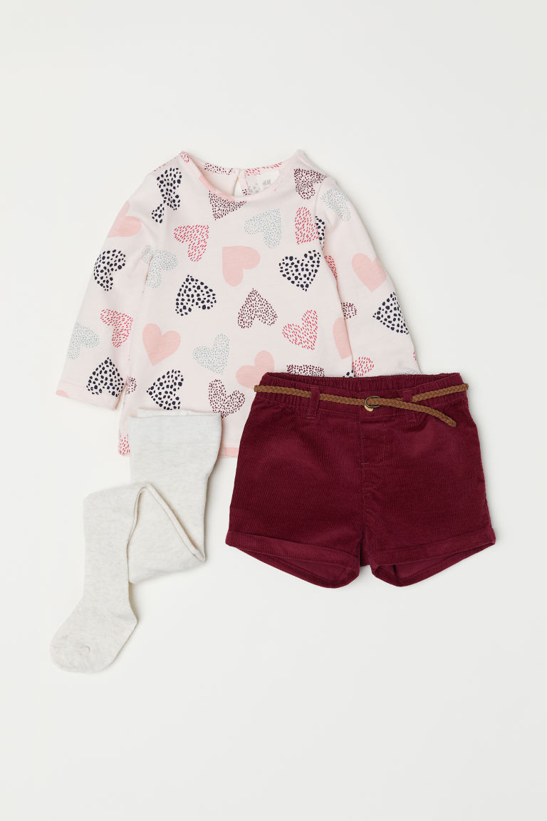 3-piece set - Pink/Hearts - Kids | H&M