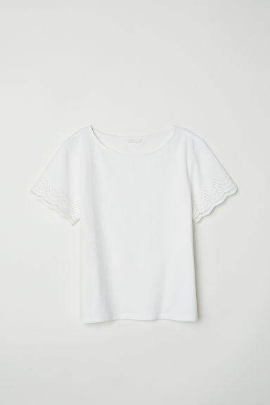 Top con bordado inglés - Blanco -  | H&M ES