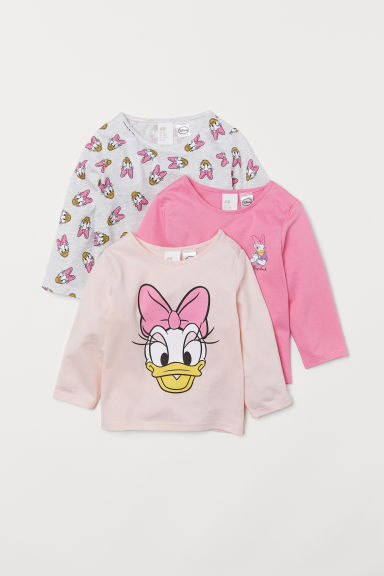 3-pack jersey tops - Pink/Daisy Duck - Kids | H&M