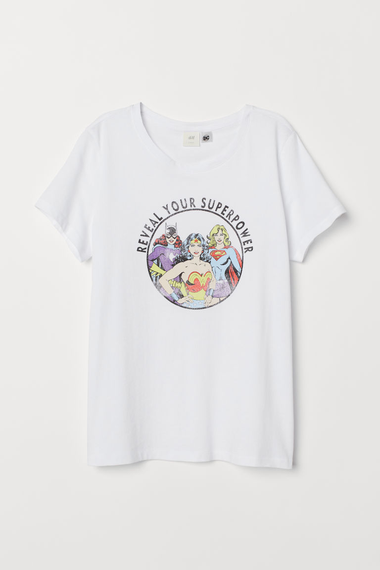 Printed T-shirt - White/Reveal Your Superpower - Ladies | H&M CN