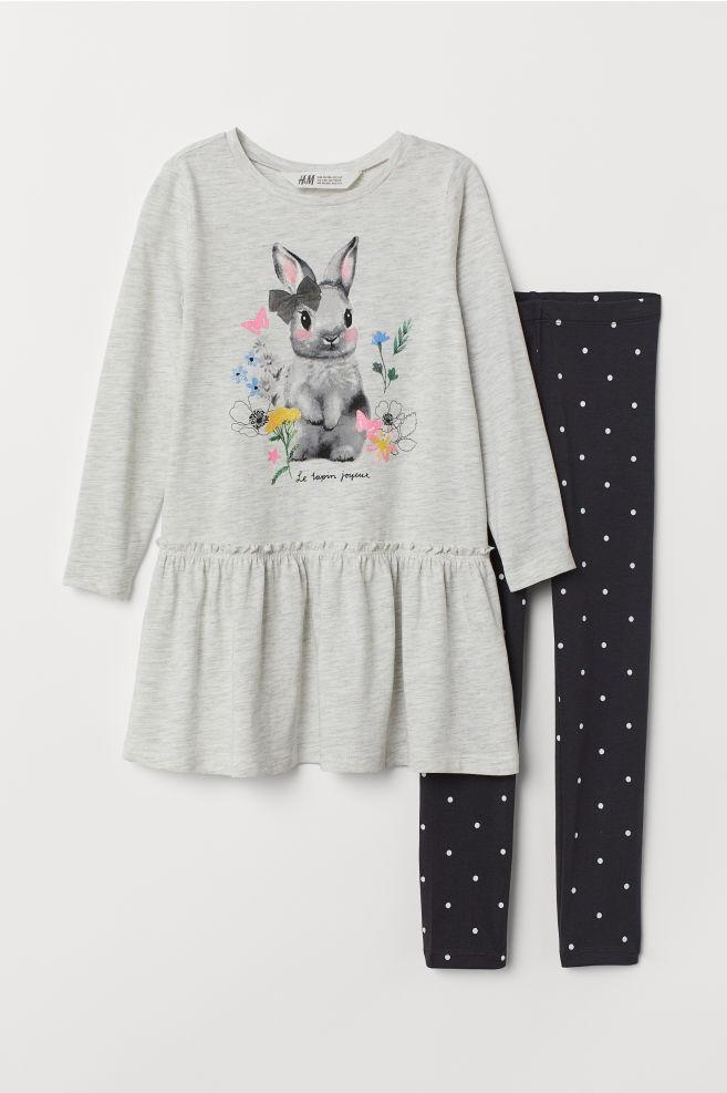 15d5e0cc705e6 Dress and leggings - Grey marl/Rabbit - | H&M ...