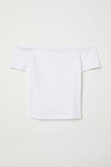 Ribbed off-the-shoulder top - White -  | H&M