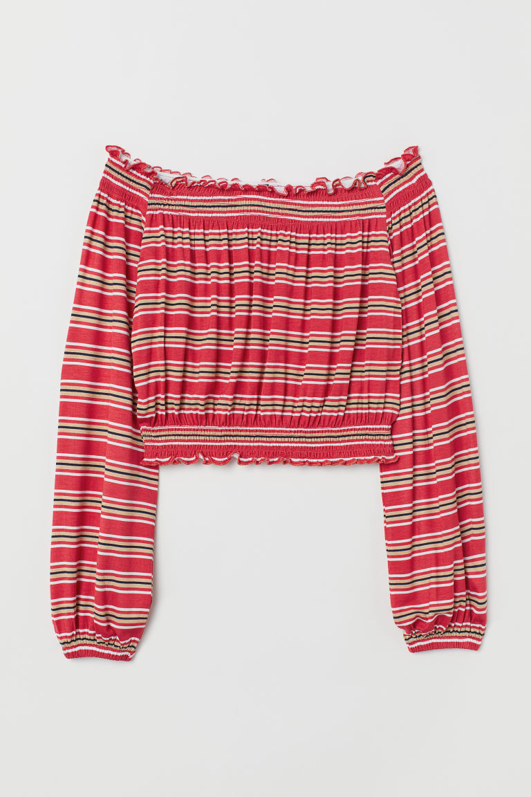Off-the-shoulder top - Red/Striped -  | H&M CN