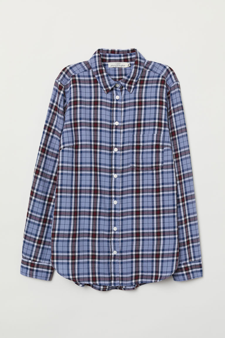 Checked shirt - Light blue/Checked - Ladies | H&M