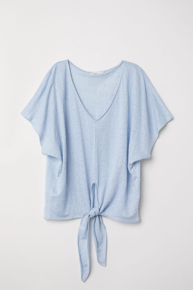 Knot-detail linen top - Light blue -  | H&M CN