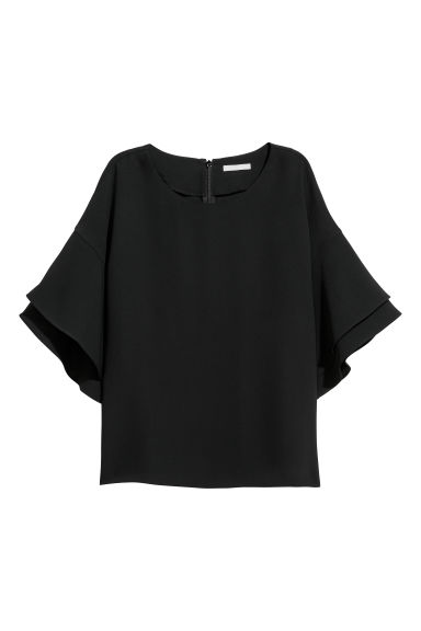 Flounce-sleeved top - Black - Ladies | H&M CN