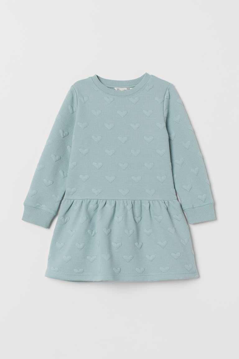 Textured dress - Dusky green/Hearts - Kids | H&M IE