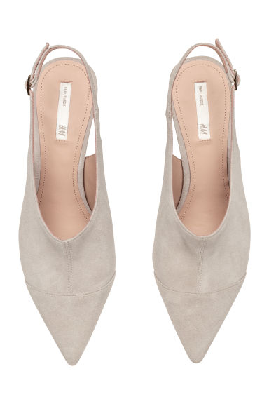 Suede slingbacks - Light grey - Ladies | H&M GB