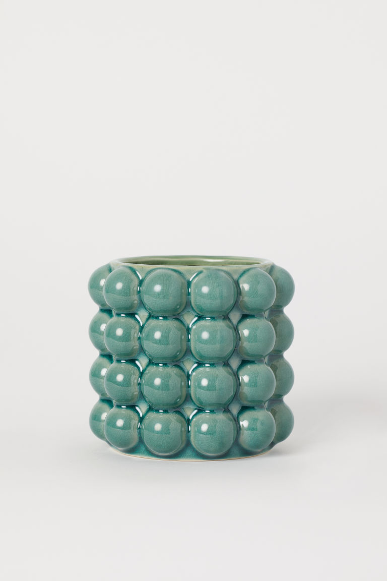 Small bubbled plant pot - Green - Home All | H&M IE