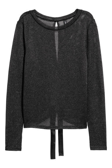 Fine-knit jumper - Black/Glittery -  | H&M