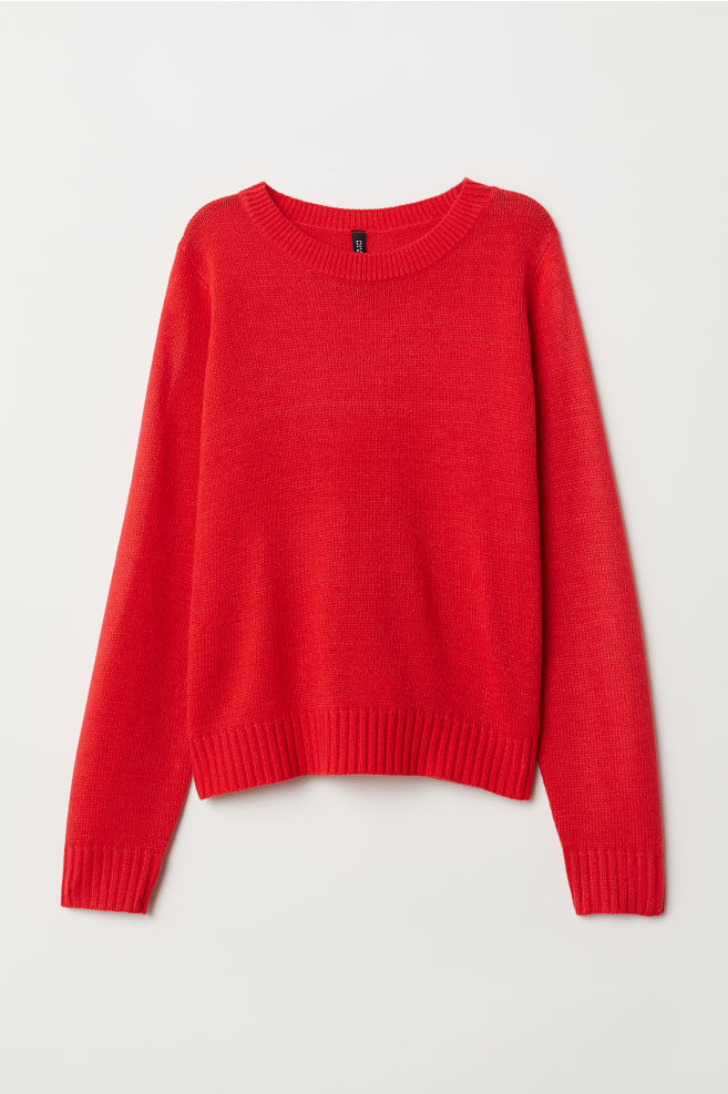 c343b858cb54 Knit Sweater - Bright red - Ladies