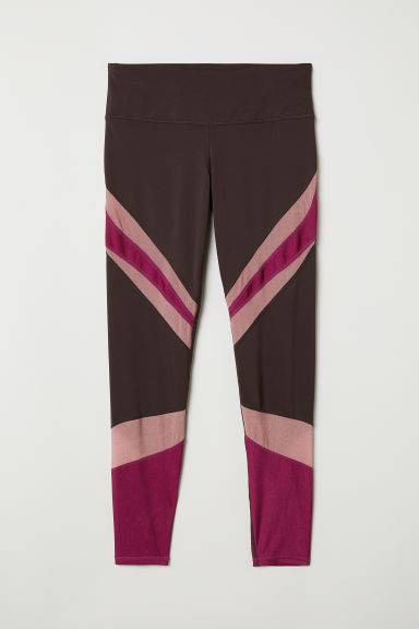 Shimmering yoga tights - Dark plum - Ladies | H&M