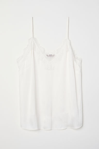 H&M+ Satin cami with lace - Natural white -  | H&M CN