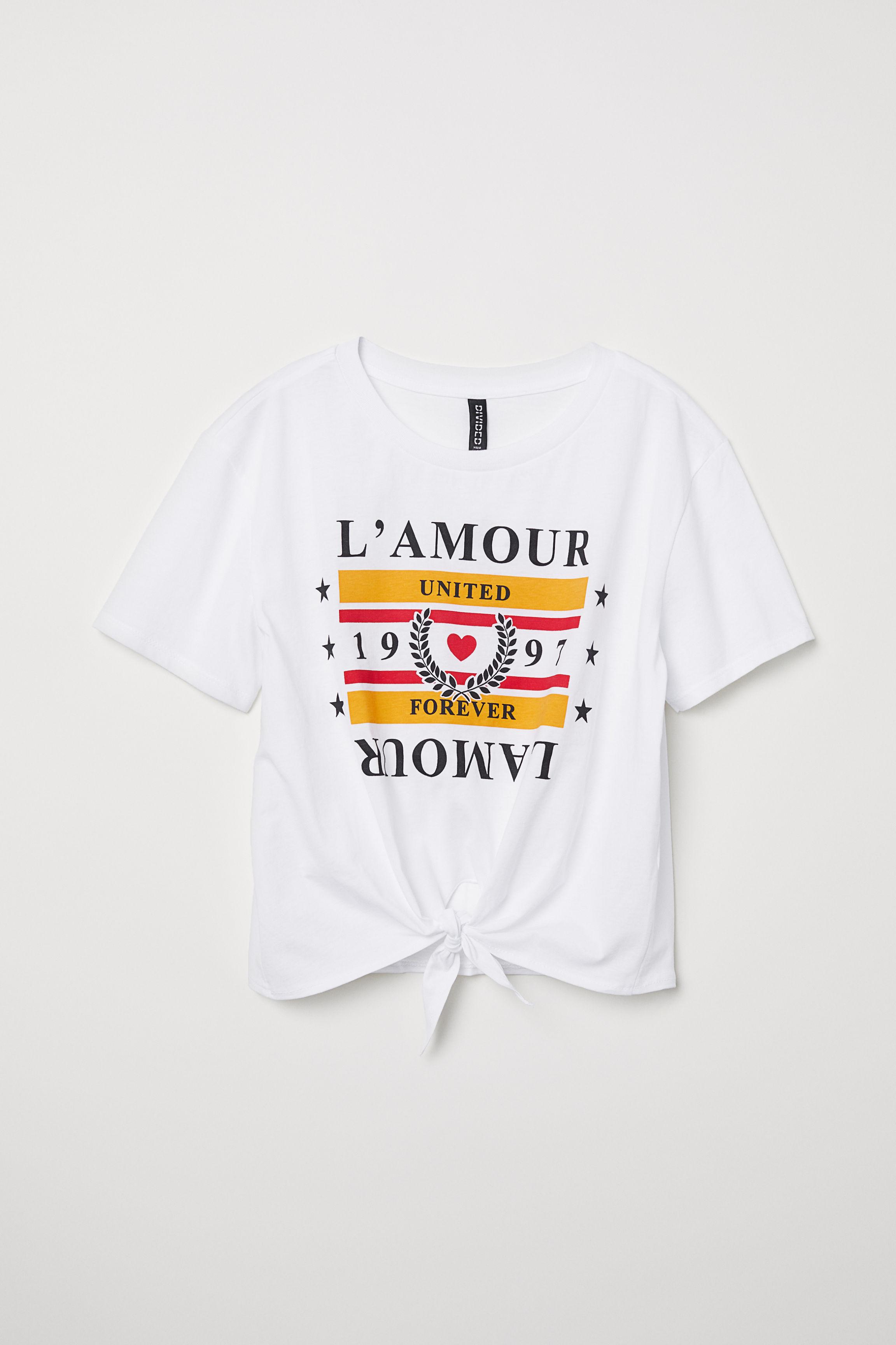 5eb622d0 T-shirt with a tie - Black/Don't Call Him - | H&M GB