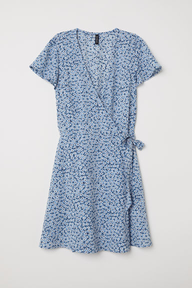 Patterned wrap dress - Light blue/White floral - Ladies | H&M CN