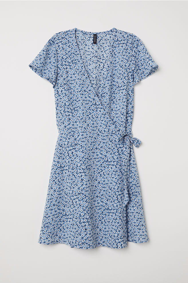 b99f874601ac28 Patterned Wrap-front Dress - Light blue white floral - Ladies