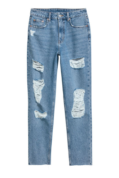 Slim Mom Jeans Trashed - Bleu denim clair - FEMME | H&M BE