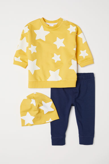 3-piece cotton set - Yellow/Dark blue - Kids | H&M