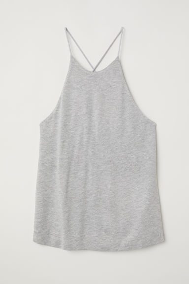 Jersey vest top - Light grey marl - Ladies | H&M CN