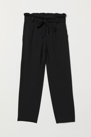 Paper bag trousers - Black -  | H&M