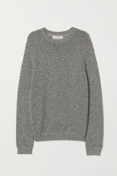 Textured-knit cotton jumper - Grey - Men | H&M
