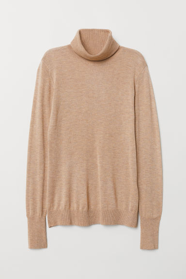 Fine-knit polo-neck jumper - Beige marl - Ladies | H&M CN