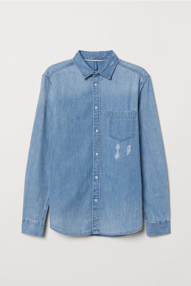 Denim Overhemd Heren.Trashed Denim Overhemd Licht Denimblauw Heren H M Nl