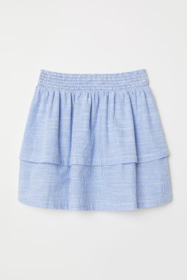 Striped tiered skirt - Light blue/White striped - Ladies | H&M