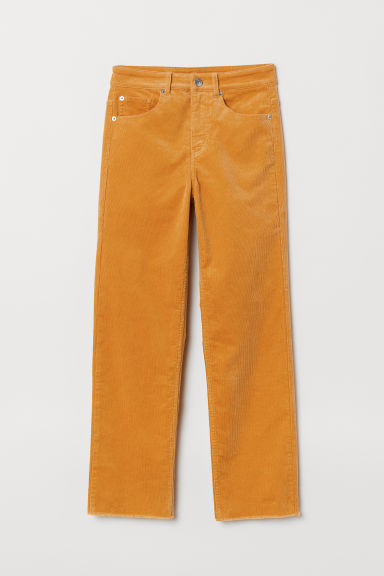 Ankle-length corduroy trousers - Mustard yellow -  | H&M