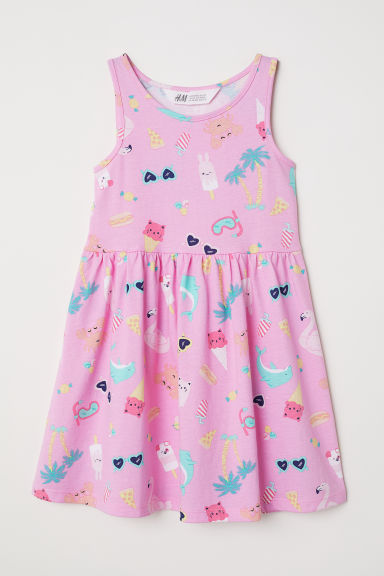 Sleeveless Jersey Dress - Pink/patterned - Kids | H&M CA