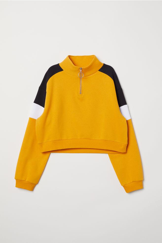 Stand-up Collar Sweatshirt - Yellow black - Ladies  106c62790