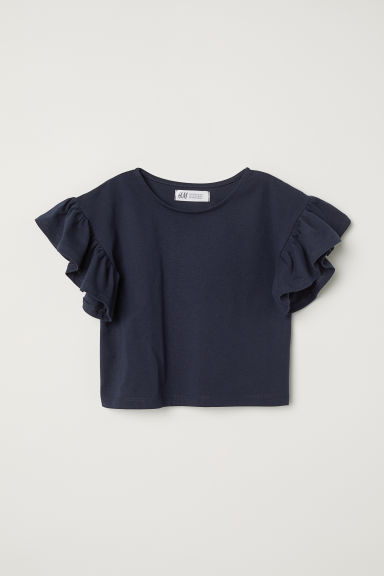 Jersey top with flounces - Dark blue - Kids | H&M