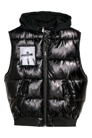 Padded gilet with a hood - Black -  | H&M