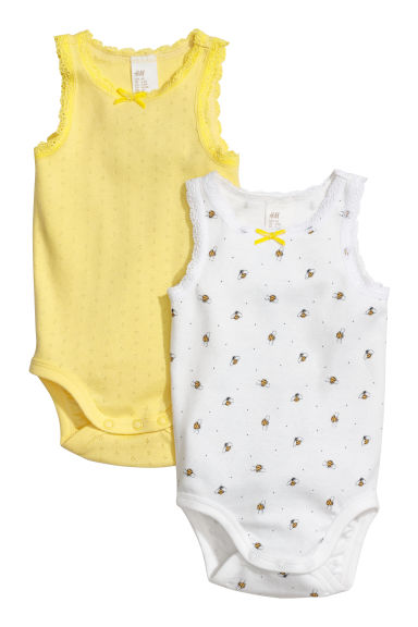 Bodies sans manches, lot de 2 - Jaune clair/pointelle - ENFANT | H&M CH