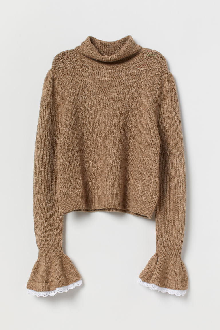 Jumper with frilled cuffs - Beige marl - Ladies | H&M