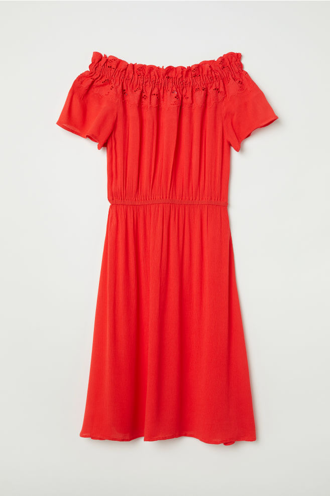 4c293c67db90 Off-the-shoulder Dress - Red - Ladies | H&M ...