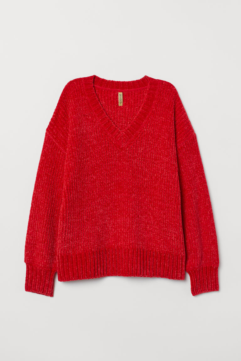 Chenille jumper - Bright red -  | H&M