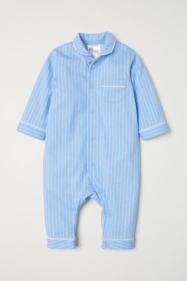 All-in-one pyjamas - Light blue/White striped - Kids | H&M CN