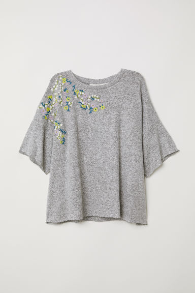 Short-sleeved jumper - Grey marl/Embroidery -  | H&M CN