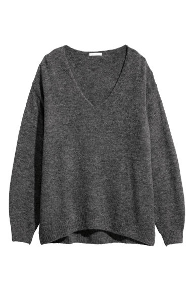 Fine-knit jumper - Dark grey marl - Ladies | H&M